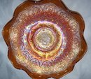 Vintage Fenton, ''Persion Medallion''  Pumpkin Colored (8) Rullfe  Bowl