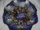 Vintage Fenton, ''Peacock and Urn''  Persion Blue, (8) ruffle, ( Beaded Berry Exterior ) Art Glass Bowl