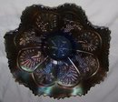 Vintage Fenton, ''Peacock and Grapes- Varient , ( Berry and Leaf Circle on Exterior ) Blue , 8 ruffled , Sawtoothed edge Art Glass Bowl