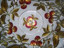 Vintage Northwood, ''Paneled Cherries'' Intaglio, Red and Gold Enameled 10.125 inch Center Bowl