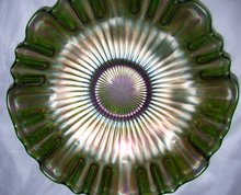 Vintage Northwood, ''Stippled Rays'' , Emerald Green, 9''  Three in one, Art Glass Bowl