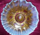 Vintage Northwood, '' Netted Roses''Intaglio, Opalescent , Goofus Treated Bowl
