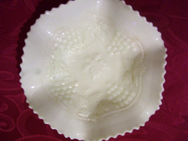 Vintage Northwood, Varient and Rare  ''White''-Grape and Cable'' 6 Ruffle/ Basketweave exterior, 7and 5/8 inch Art Glass Bowl