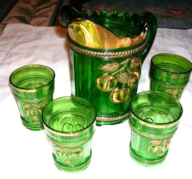 Vintage ,Northwood, Intagilo, '' Peach '' Pattern-Emerald Green-Five Piece Water Set