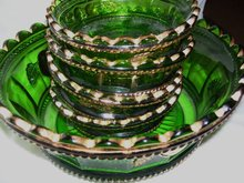 Vintage,Northwood, Intaglio ,'' Peach ''  5 piece Emerald Green Five Piece Berry Set