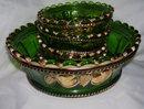 Vintage,Northwood, Intaglio ,'' Peach ''  5 piece Emerald Green Five Piece Berry Set