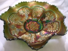 Fenton,''Peacock and Grape''  Vintage- 8 Ruffle, 9inch, Sawtooth edge green Bowl