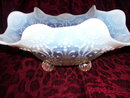 Vintage,  Northwood, '' Daisy'' French Opalescent, Tri- corner, ball footed bowl