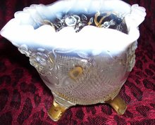 Vintage, French Opalsecent,  Northwood, Goofus Decorated '' Fine Cut and Roses, White, gold enameled Candy dish