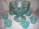 Vintage, Westmoreland, Rare, '' Checkerboard, '' Childs/Salesman Sample, Ice Blue, Mini- Seven Piece  Punch bowl Set