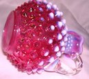 Fenton Art Glass-Cranberry Hobnail Opalescent 5 inch Cruet