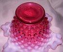 Fenton Art Glass-Cranberry Hobnail Opalescent 7 inch bowl
