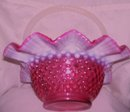 Fenton Art Glass-Cranberry Hobnail Opalescent 10 inch Basket bowl with French Opalescent Handles