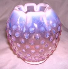 Fenton Art Glass- Hobnail - Wild Rose colored Pink -Opalescent  5 inch Rose bowl