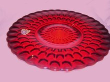 Fenton Art Glass- 8.375 inch Thumbprint, Oxblood Plate