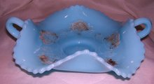 Vintage Northwood,  '' Poppy Scroll'' Intagilo( Googus ) Decorated , Turquoise, 2 handled Card Tray