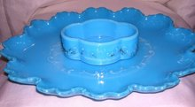Vintage,  Turquoise Blue , Floral Motif,  Art  Glass Dresser Tray and Matching Dresser Trinket Box