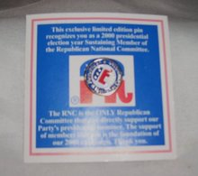 Exclusive Limited Edition,RNC, 2000 Presidential Election Lapel Pin