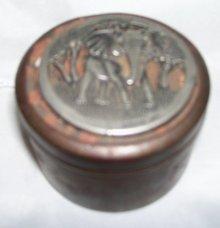 Vintage, Metze Pewter, OldTobacco Tin.Snuff Box with/ 1874  Metzke copyrwtight