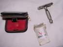 Vintage Gillette Mini Travel Double Edge Razor and Blades in Black German Case