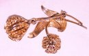 A -Ladys  Gold PlatedTwo Flower Filigre Brooch-Leaf Pin