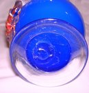 A Blue Overlay Blown Glass 10 inch Art Glass Vase