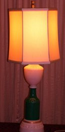 A  Vintage Aladdin, 1938- Ivory Opal-(Alacite) Glass, E lectric , 26 inch Table Lamp