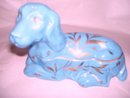 Limoges France,MOD-DEP-Papillion-Bassett Hound Trinket Box/ Blue With Gold Gilted Leaf Foilage