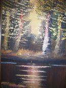 Autum Trees with Brook , Signed