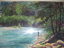 A Fishing Scene by The artist-Everett- Watercolor Signed Everett 91