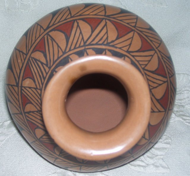 A Balck and Brown Geometric Olla Vase,