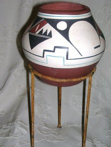 A  Handcrafted, Navajo Indian, Mary Saxon- Geometric design, Southwest Pottery Vase, signed Mary Saxon, Navajo