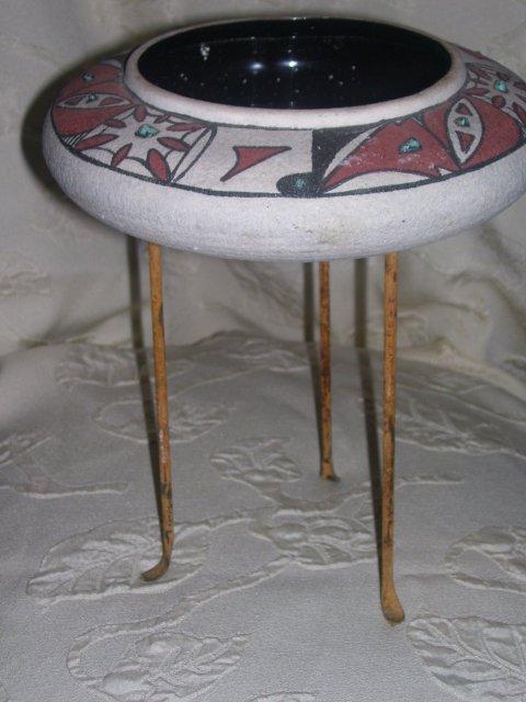 Margie of Arizona ,Decorated Art Pottery Bowl with Turquoise Gem stones by Margie of Arizona