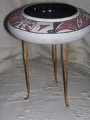 Margie of Arizona ,Decorated Art Pottery Bowl with Turquoise Gem stones by Margie of Arizona