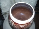Handcrafted under glaze, with Geometric leaf motif pot by HALE  AHI-koval Hawaii