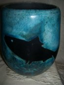 A large Decorative arts-Whales/Ocean Pottery vase,by Harold Long, Eastern Band of The Cherokee Indians,20th century