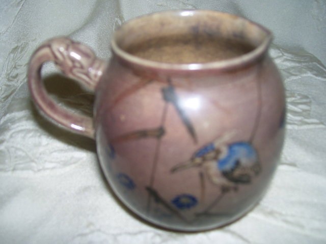 A Chinese tea pot-Dragon Handle- 1700's Painted blue birds -under glaze thin walled pottery tea pot