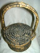 Vintage Native American late 1800's  hand coiled basket with lid and handle
