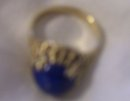 A Ladys 6.8 grams14k gold , 10 mm Natural Lapis Luzuli  Nugget ring