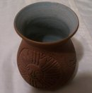 A Signed 1984 Mohawk Pottery  hand decorated clay pottery vase