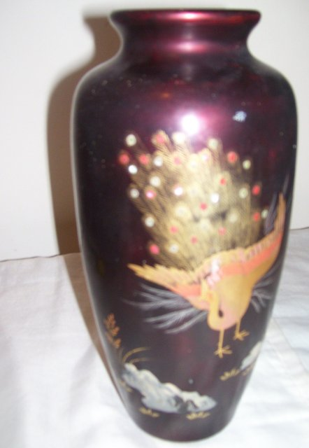 Aizu Japan marked-Lacquered Purple 10 inch Vase depicting a Handpainted Gold gilted Peacock decoracted with Abalone