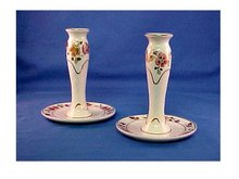 Pair of Hand Painted Porcelain Candleholders