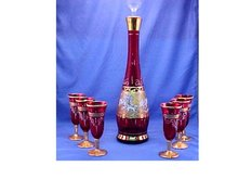 Red Decanter Set - 7 Pieces