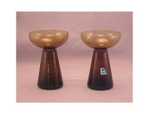 Pair Amber Candleholders - Morgantown Glass Works