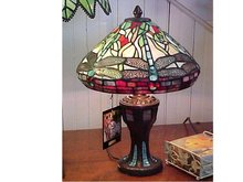 Stained Glass Dragonfly Table Lamp