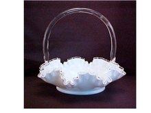 Milk Glass Basket - Fenton