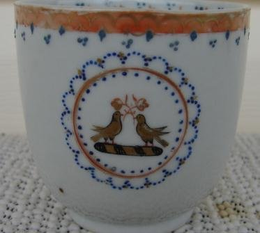 C. 1770 CHINESE EXPORT DEMI CUP 2 BIRDS ON CIGAR