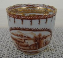 C. 1775 CHINESE EXPORT AMERICAN MARKET SCENES DEMI CUP