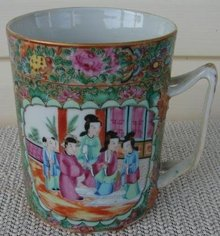 C.1820 CHINESE EXPORT ROSE MANDARIN MUG,HUGE