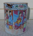 C. 1800 CHINESE EXPORT ROSE MANDARIN MUG 5 1/4